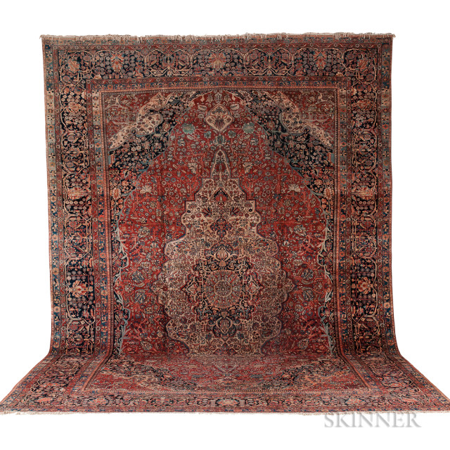 Mohtesham Kashan Carpet, Iran, c. 1890, 19 ft. 6 in. x 13 ft. 6 in. (Lot 194, Estimate: $12,000-15,000)