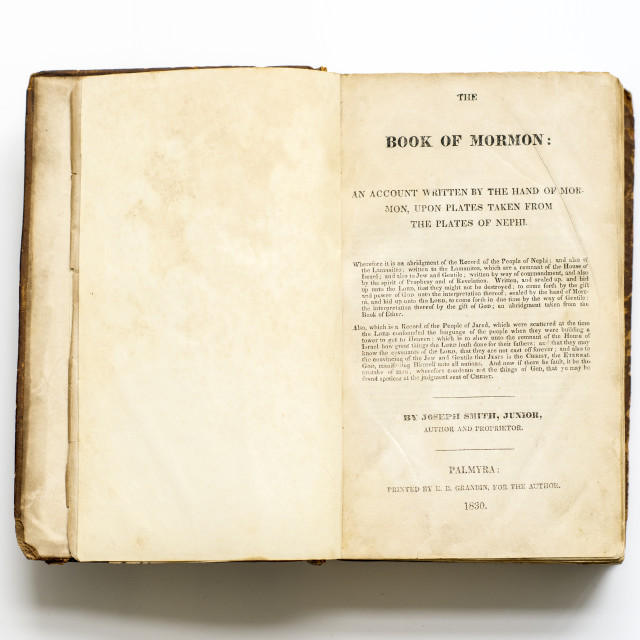 The Book of Mormon: an Account Written by the Hand of Mormon, upon Plates Taken from the Plates of Nephi (Lot 264, Estimate: $45,000-55,000)