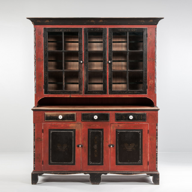 Painted and Stencil-decorated Soap Hollow Cupboard, attributed to Jeremiah Stahl, Soap Hollow, Somerset County, Pennsylvania, dated 1873 (Lot 338, Estimate: $60,000-80,000)