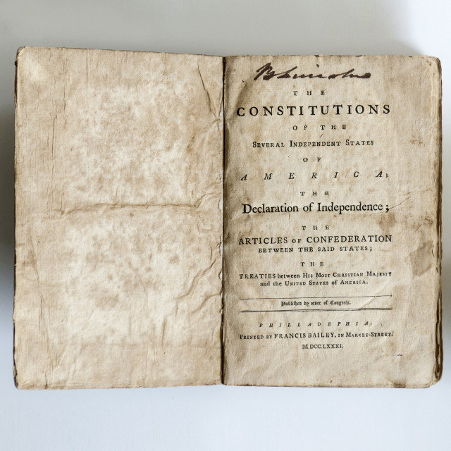 The Constitutions of the Several Independent States of America; the Declaration of Independence; the Articles of Confederation between the Said States; the Treaties between His Most Christian Majesty and the United States of America (Lot 266, Estimate: $4,000-6,000)