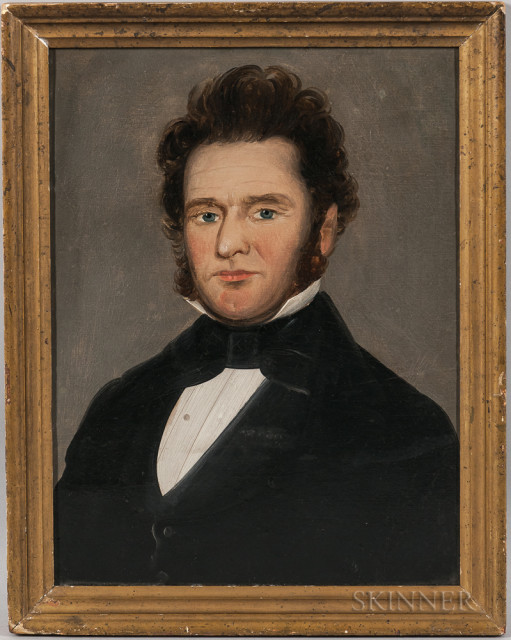 Attributed to William Mathew Prior (Massachusetts/Maine, 1806-1873), Portrait of a Gentleman (Lot 216, Estimate: $400-600)