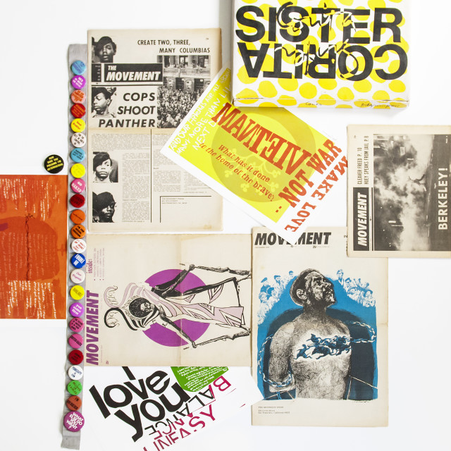Black Panther and leftist publications from the 1960s and a portfolio of the works of Sister Corita