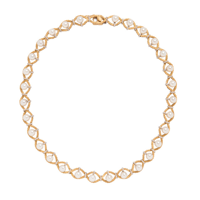 18kt Bicolor Gold and Cultured Pearl Necklace, Buccellati (Lot 1031, Estimate: $1,500-2,000)