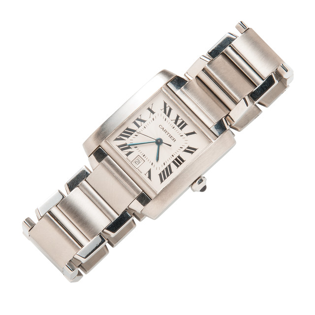"Stainless Steel ""Tank Francaise"" Wristwatch, Cartier (Lot 1082, Estimate: $1,000-1,500)"