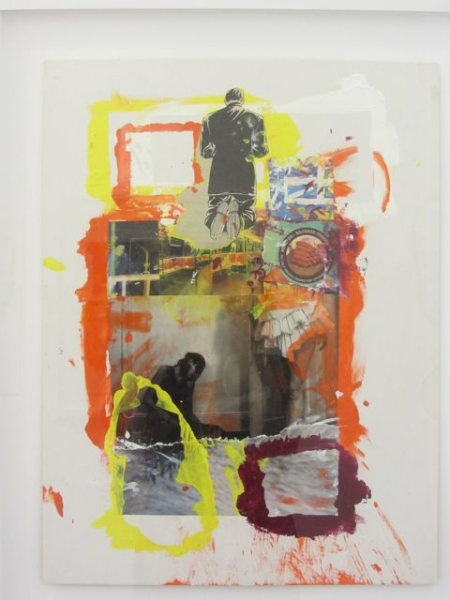 Hotdog, 2012  25 x 19 ½  inches  Collaged Painting w/laser printing on paper