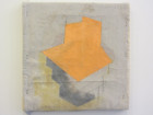 "Sharon Butler, ""Orange and Silver Vent,"" 2013 Pigment and silica binder, staples on laundered linen"
